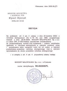 Decyzja z dnia 18 maja 2005 r.