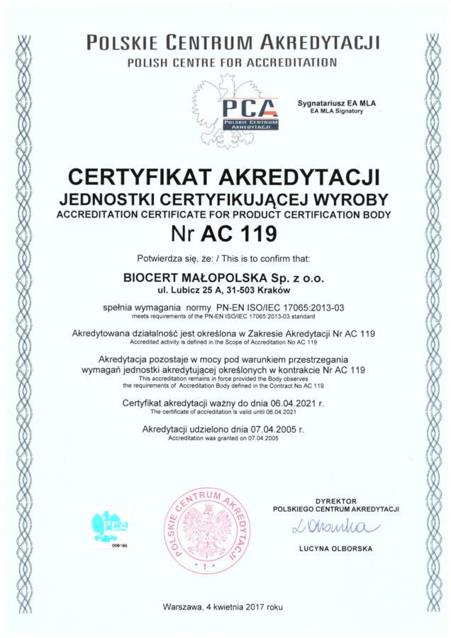 Certyfikat akredytacji AC 119